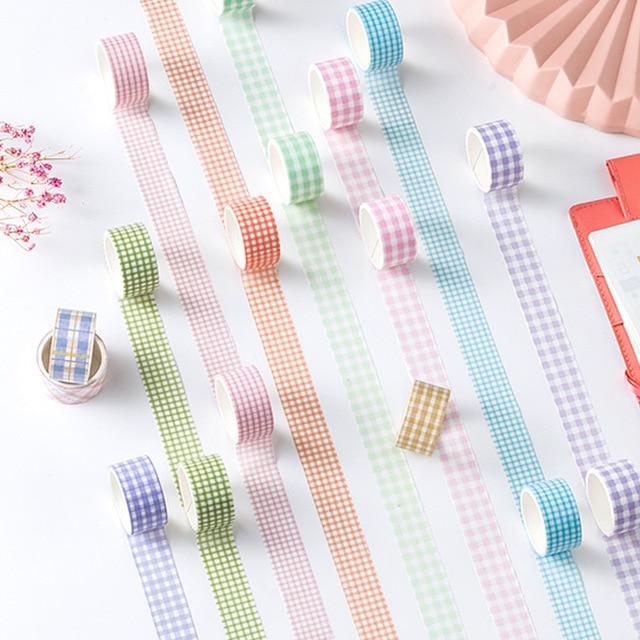 Mohamm 1 pièces série à carreaux frais décoration Washi ruban de masquage créatif Scrapbooking papeterie fournitures scolaires