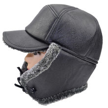 Winter Thick Warm Earmuff Leather Hat Dad Cap Ushanka Middle Aged And Elderly People Winter Fur Men's Hat for the Elderly(China)