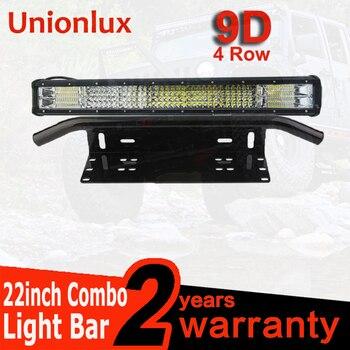 """4row 22inch Offroad Combo LED Light Bar 504W+ 23"""" Bull Bar Front Bumper License Plate Mount Bracket 4x4 Truck ATV 12V Fog Lamp"""