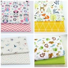 2PCS Dinosaur Dot, Fox  Animals Twill 100% Cotton Fabric,Patchwork Cloth,Sewing Quilting Fat Quarters Material For Baby&Child