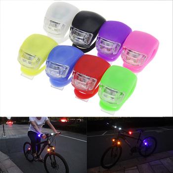 Silikonowe światła rowerowe wodoodporne LED przednie światło tylne z bateriami koło rowerowe światła światło główne akcesoria rowerowe tanie i dobre opinie Light72 FRAME Baterii red blue white black