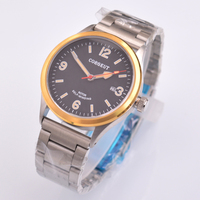 Corgeut 41mm caixa de ouro safira vidro automático data mecânica relógio de pulso d3