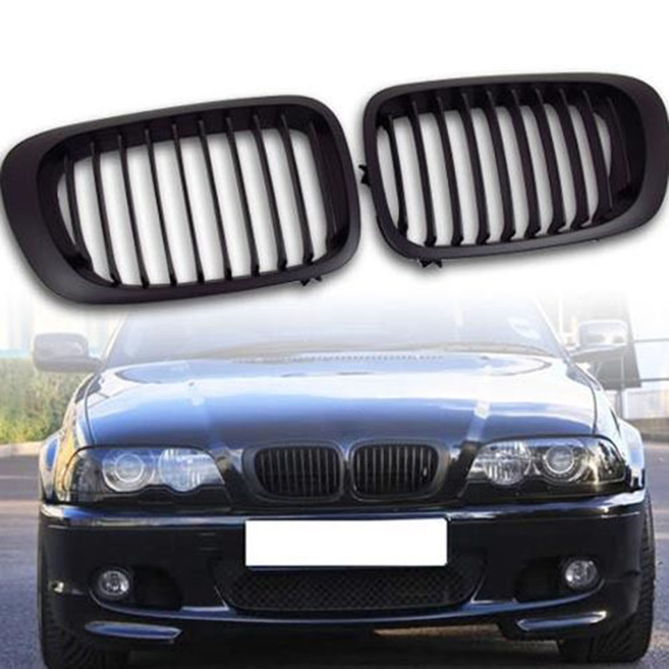1 Pair of Car Double Line Kidney Front Grilles Grill Gloss Black For E46 2-Door 1999-2002 Styling Glossy Black Covers
