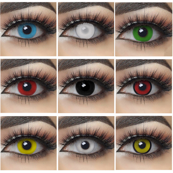 2pcs/Pair Halloween Cosplay Colored Contact Lenses for Eyes Anime Lenses Colorful Contact Lenses for Eye Color Lens Cosplay Red image