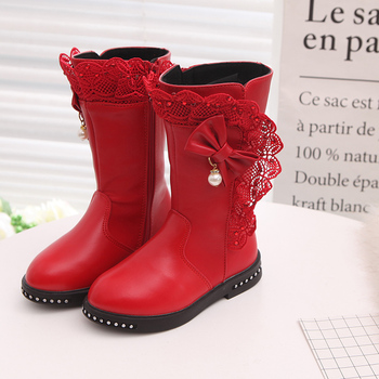 Fashion High Lace Bow Snow Boot For Big Girls Winter Boots For Kids Warm Children'S Waterproof Shoe 4 5 6 7 8 9 10 11 12 Year new rivet children s autumn girl ankle boots for kids martin snow fashion waterproof winter shoe 4 5 6 7 8 9 10 11 12 year old