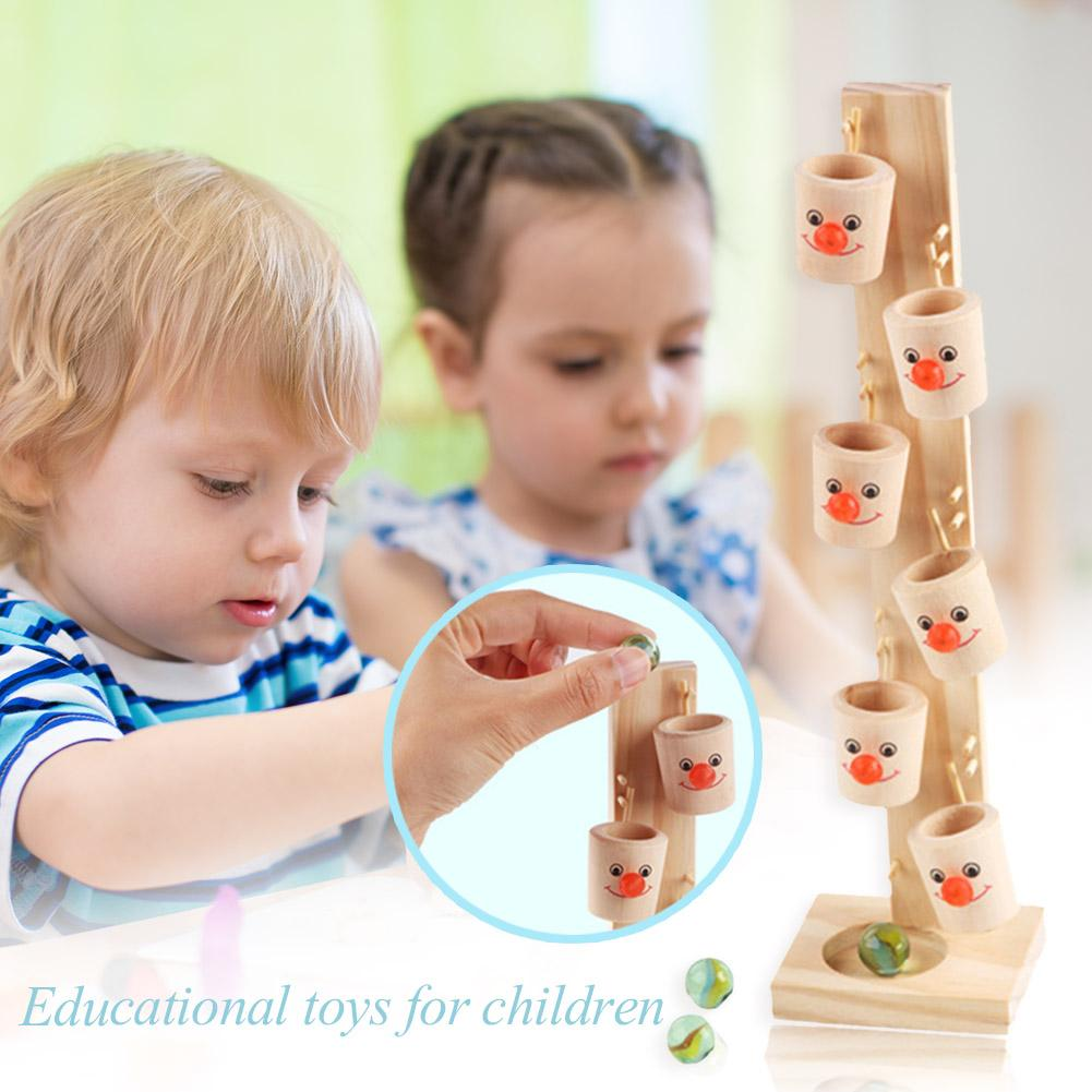 Clown Pattern Wooden Blocks Tree Excavate Talent of Painting Marble Ball Run Track Game Kids Educational ToyDecompression Toys