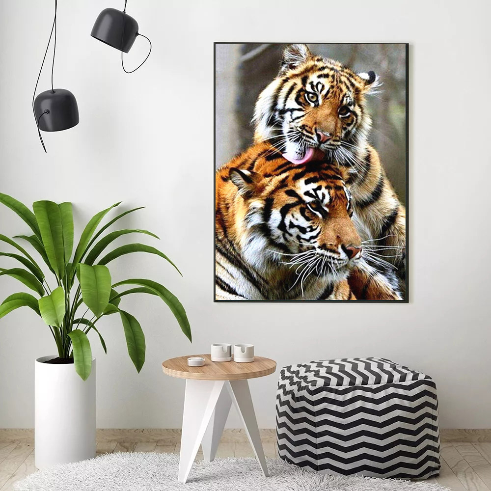 HUACAN Oil Painting By Numbers Tiger Animal Drawing On Canvas HandPainted Art Gift DIY Picture By Number Kits Home Decoration
