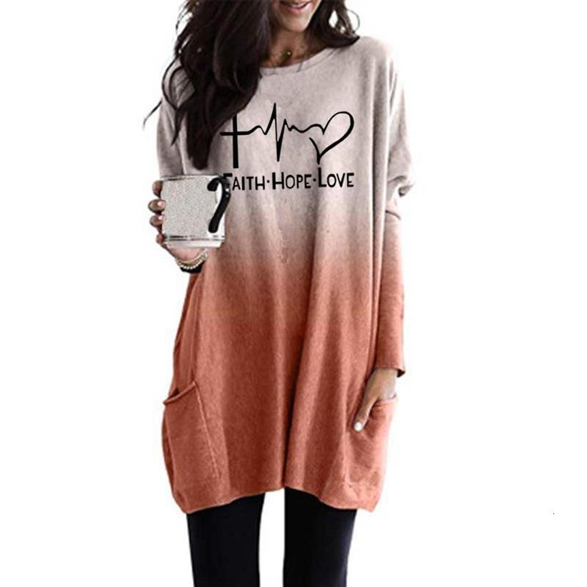 2019 New Fashion Faith Hope Love Letters Print T-Shirt For Women Gradient Long Sleeve