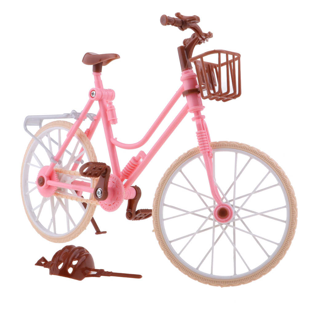 1//6 Pink Plastic Bike Bicycle with Helmet for Doll Accessory