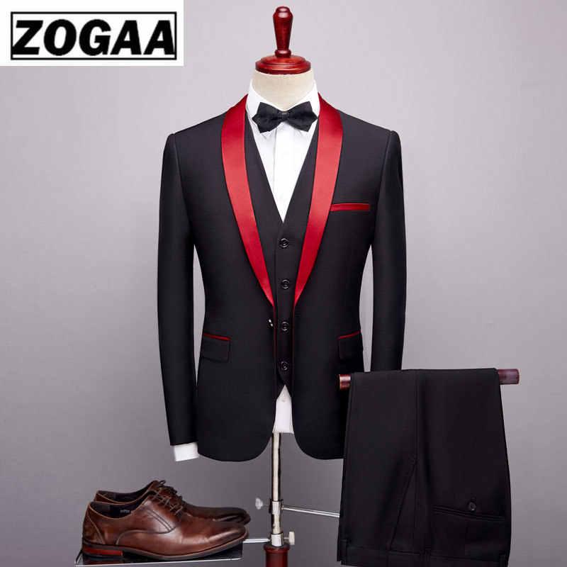 ZOGAA Uomini di Marca Del Vestito 2019 Abiti Da Sposa per Gli Uomini Collo a Scialle 3 Pezzi Slim Fit Borgogna Vestito Mens Royal Blu giacca da smoking