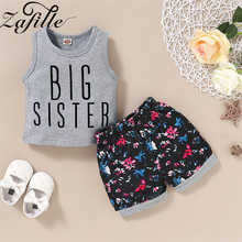 ZAFILLE Baby Girl Clothes 2020 New Summer 2Pcs Letter Printed Sleeveless Top+Floral Printed Shorts Girls Toddler Outfits Sets