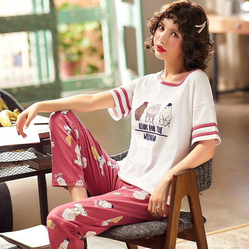 Summer Cotton Casual Simple Pajamas WOMEN'S Short Sleeved Trousers Korean-style Fresh GIRL'S Thin Homewear Set
