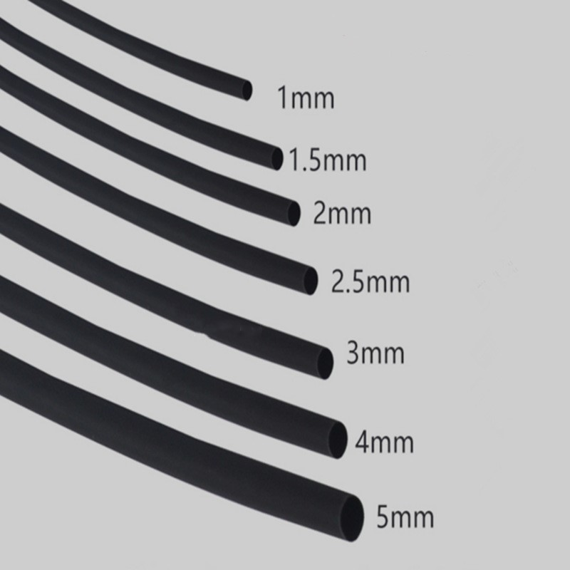 5METER/LOT 2:1 Black 0.8mm 1mm 1.5mm 2mm 3mm 3.5mm 4mm 5mm 6mm 7mm 8mm 9mm 10mm Diameter Heat Shrink Tube DIY Connector Repair