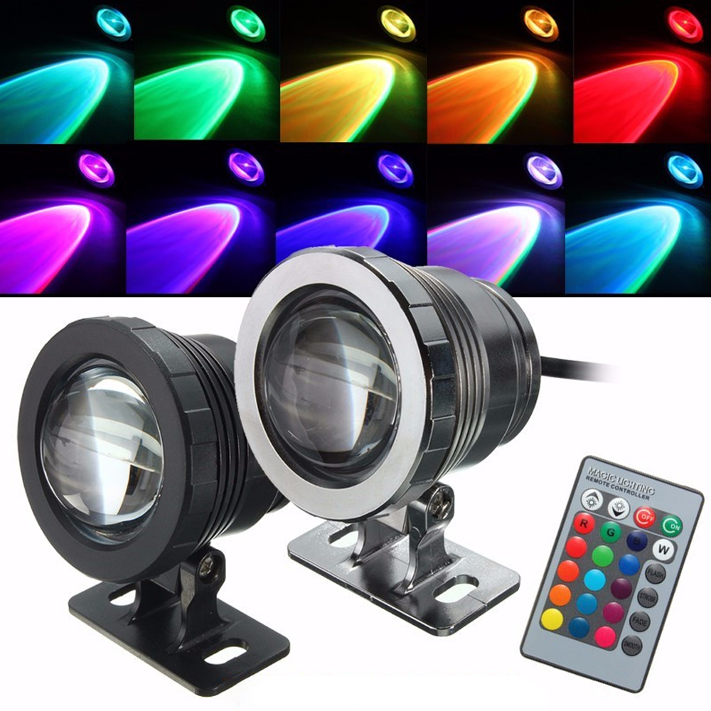 SNEWVIE 10W  Waterproof Spotlight  Landscape Lighting For Underwater Fountain Pool Light RGB With Remote Control