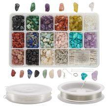 Ensemble de perles de pierres précieuses naturelles et synthétiques avec fil de cuivre, fabrication de bijoux, résultats pour bricolage, boucles d'oreilles, Bracelets et colliers F50