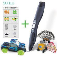 SUNLU SL-300 3D Pen DIY Car Toys Digital 3D Printing Pen With PLA Filament Children Explore Brains Deign Scribble Pens sunlu sl 300 professional 3d printer pen gen 3 with oled display blue