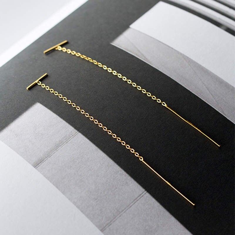 INZATT Real 925 Sterling Silver Chain Tassel Stud Earrings Fashion Women Fine Jewelry Party Minimalist Cute Accessories Gift