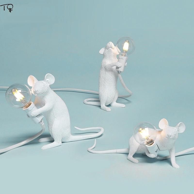 Nordic SELETTI Mouse Lamp Mius Led Light Table Resin Gold White Desk Lamp E27 Modern Indoor Light Fixtures Kids Room Bedroom