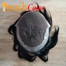Mâle capillaire prothèse perruque suisse dentelle & Pu perruque toupet homme naturel indien système de remplacement de cheveux humains mâle perruque vrais cheveux