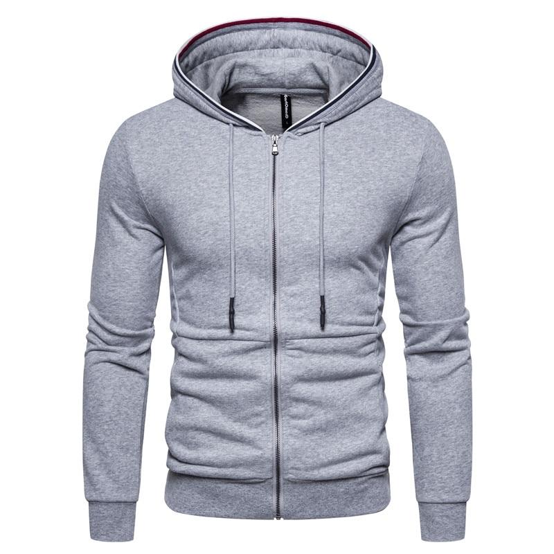 2020 New Spring Cardigan Zip Hoodies Men Cotton Soft Feel Mens Sweatshirts Slim Fit Sporting Running Top Quality Hoody Men