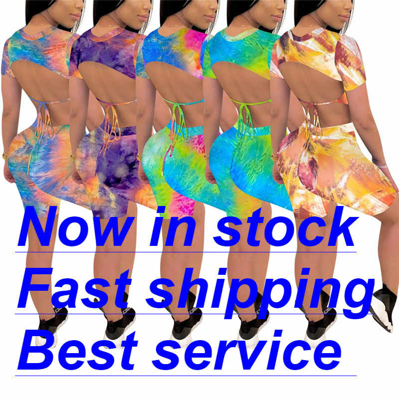 2 Stuk Outfits Voor Vrouwen, zomer Outfits Tie Dye Print Sexy Bodycon Korte Broek Outfits Sport Pak Trainingspak Shorts Sets