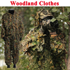 Tactical Sniper Woodland 3D Leaf Ghillie Suits Men Camouflage Hunting Clothes Jungle Airsoft Paintball Clothes Shirt + Pants 1