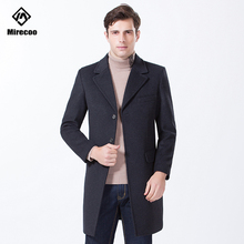Mirecoo Winter Coat Men Solid Pocket Long Jaket Wool High Quality Turn-down Collar Fashion Casual Overcoat 2019