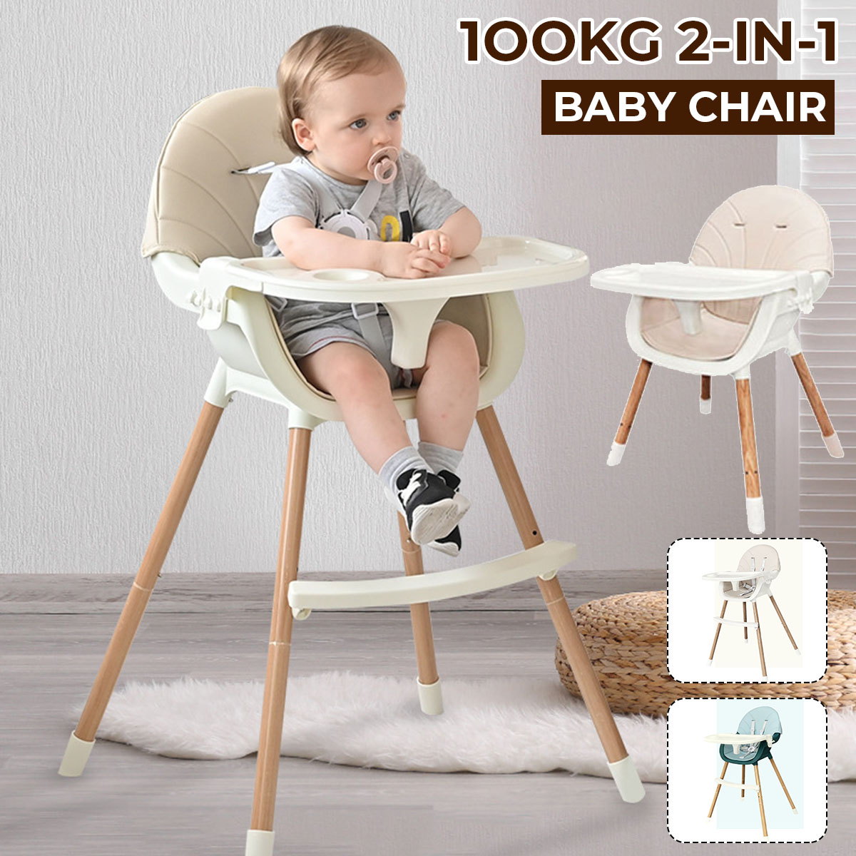 Baby High Chairs for Children Feeding Multifunctional Portable Kids Highchairs Double Layer Dining Table Seats with PU Cover
