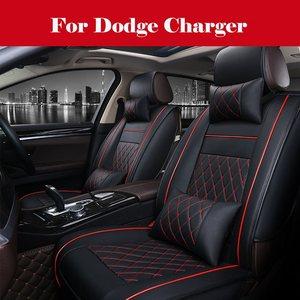 Черный роскошный полный комплект из искусственной кожи чехол для сиденья Подушка для салона автомобиля аксессуары для Dodge зарядное устройс...