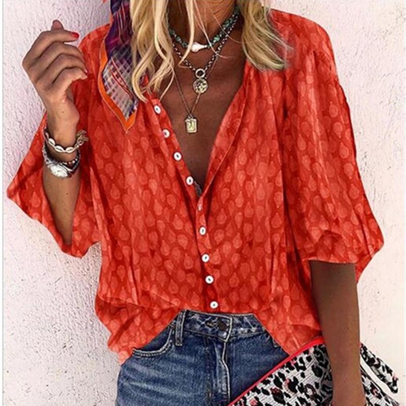 Fashion Women Long Sleeve Shirt Casual V-neck Loose Tops Spring Autumn Polka Dot Print Lapel Shirts Blouses Plus Size