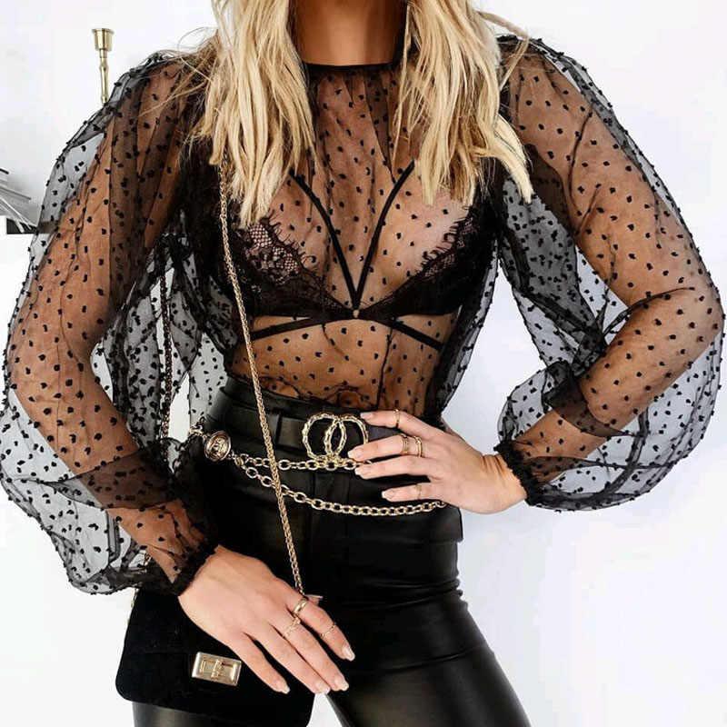 여성 폴카 도트 블라우스 쉬어 메쉬 롱 퍼프 슬리브 탑스 클럽웨어 터틀넥 파티 Streetwear Shirts Vestidos