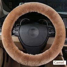 Protector de piel de oveja auténtica 100% Australia para volante de coche, cálido, suave, para invierno, adecuado para 35-42cm, accesorios de coche rojo