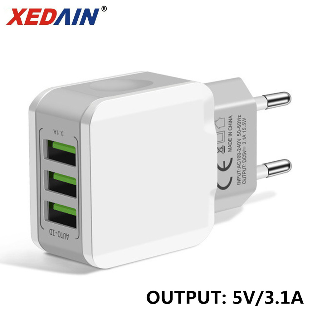 3 USB EU Charger Plug For Iphone Samsung Huawei Xiaom Dual USB Port Travel Wall Charger Mobile Phone USB Charger Adapter 5V 3.1A