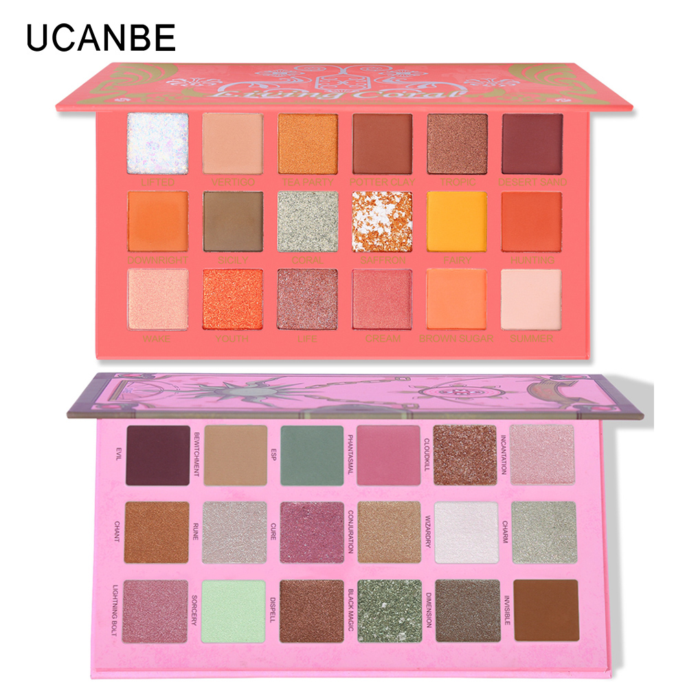 Image 1 - UCANBE 2pcs/lot Eye Shadow Palette Makeup Set Matte Shimmer Glitter Pearlescent Powder Orange Yellow Green Summer Makeup Look-in Eye Shadow from Beauty & Health