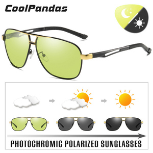 Image 2 - للجنسين الألومنيوم المغنيسيوم HD اللونية الاستقطاب النظارات الشمسية الرجال الأصفر يوم ليلة القيادة الذكور Oculos مكافحة وهج نظارات Gafas