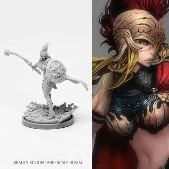 30mm Resin Kits KD Sexy Goddess Series Resin Soldier Beauty Self-assembled A-89