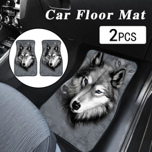Car-Foot-Carpet-Covers Wolf Floor Universal Non-Slip Print Auto Front 2pcs Auto-Interior-Styling