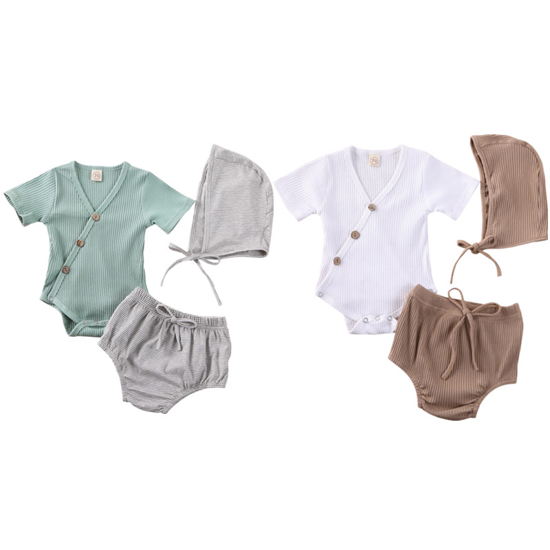 NEW 2020 Baby Boys Girls Cotton Romper Outfit Ribbed Sleeveless V Neck Romper Tops Striped Short Pants Cap 3Pcs Clothes Set