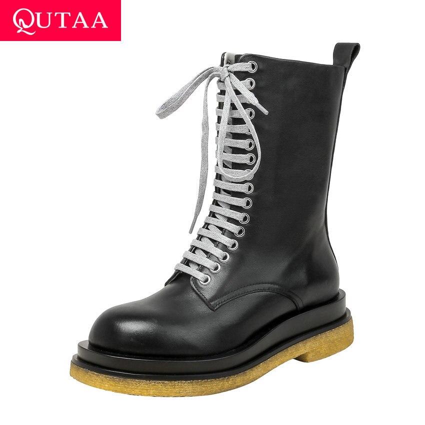 QUTAA/2021 г., модные ботинки до середины икры на платформе женские туфли лодочки из коровьей кожи на молнии со шнуровкой Женская обувь на квадра