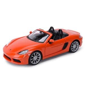 Image 5 - Bburago 1:24 Porsche 718 Boxster Sports Car Static Die Cast Vehicles Collectible Model Car Toys