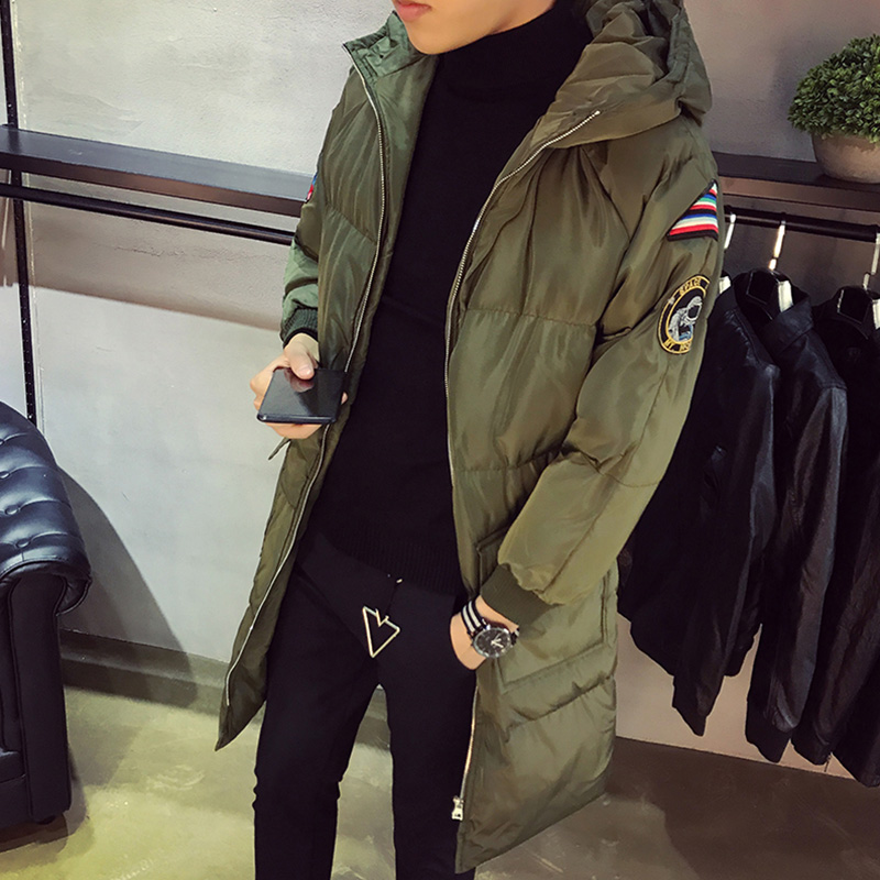Parkas Men Hooded Coats And Thickened Cotton-padded Clothes Cotton Polyester