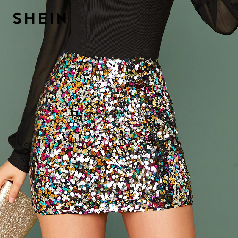 SHEIN Multicolor Glamorous Colorful Sequin Skirts Womens Spring Autumn Nightout Mid Waist Party Bodycon Mini Skirt