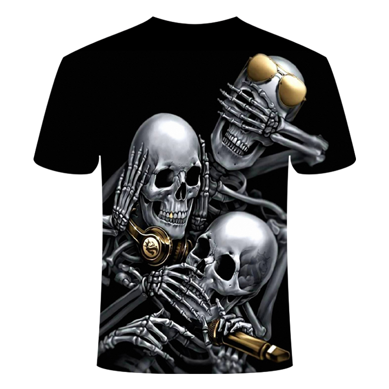 Drop Ship Summer NewFunny skull 3d T Shirt Summer Hipster Short Sleeve Tee Tops Men/Women Anime T-Shirts Homme Short sleeve tops 7