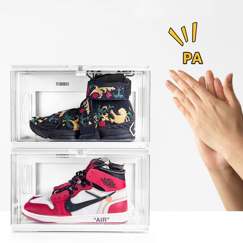 Voice-activated Shoe Box with LED Light Storage Box Side Open Transparent Sneakers Organizer Care Acrylic Display Shoe Cabinet