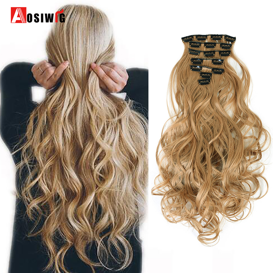 AOSIWIG 24'' Long Curly Synthetic Hair Extension 7pcs/set 16 Clips In On Hair Extensions Heat Resistant Hairpiece