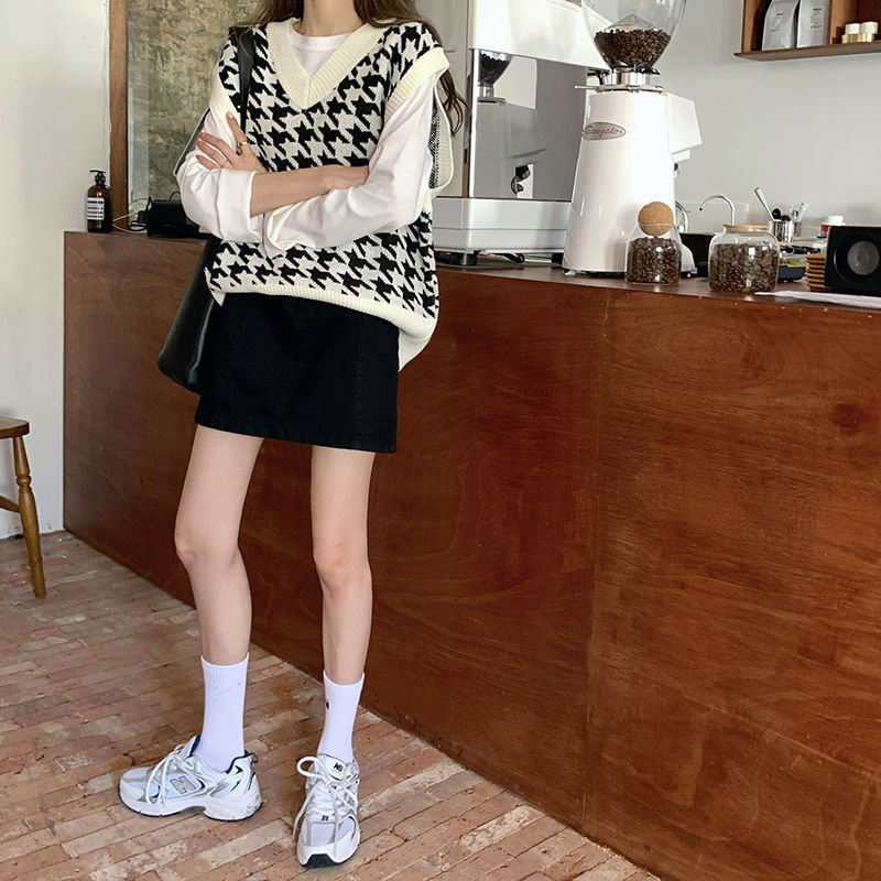 Hb89dff045ea641798ed95365e6bee25d9 Women Sweater Vest Autumn Houndstooth Plaid V-neck Sleeveless Knitted Vintage Loose Oversized Female Sweater Vest Tops