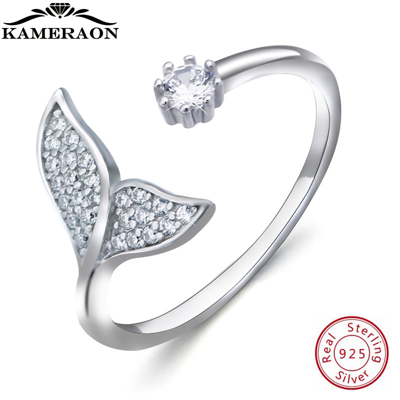 KAMERAON Dainty Ring 925 Sterling Silver Woman Jewelry Ocean Mermaid Anillos Cubic Zirconia Shell Pearls Rings Korean Adjustable