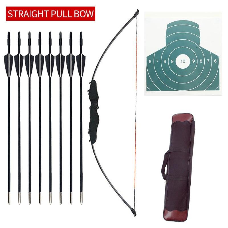 30/40 ปอนด์ยิงธนู Recurve Bow การถ่ายภาพกลางแจ้ง Bow และ Arrow อุปกรณ์แบบดั้งเดิมโบว์ยาว Professional อุปกรณ์เสริม