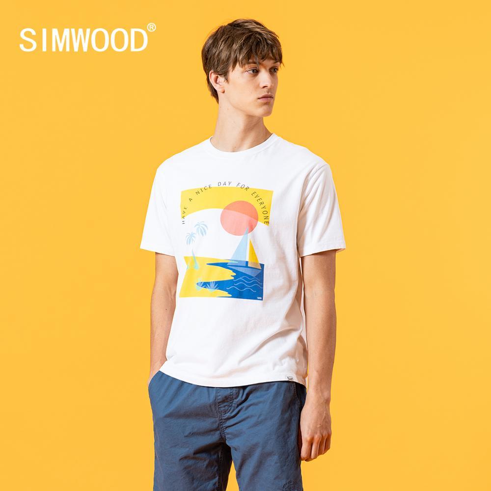Мужская футболка SIMWOOD, летняя футболка из 100% хлопка с принтом, большие размеры, SJ120568        АлиЭкспресс