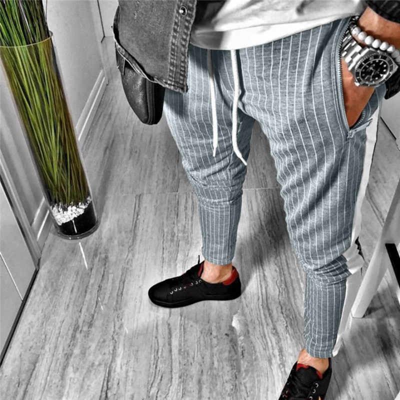 2019 Pantalones Largos Para Hombre A Rayas De Moda Otono Invierno A Rayas Cintura Elastica Ropa Casual Pantalones Ajustados Joggers Caliente Pantalones Ajustados Aliexpress